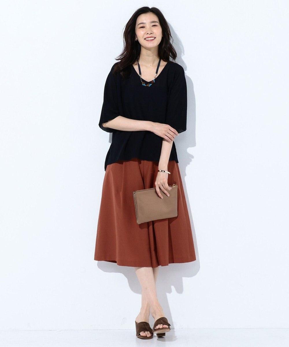 J.PRESS LADIES L 【洗える】T/Cライトタンブラー スカーチョ ブラウン系