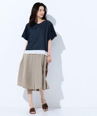 J.PRESS LADIES L 【洗える】T/Cライトタンブラー スカーチョ ベージュ系