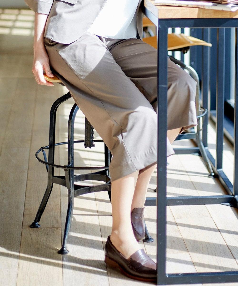 J.PRESS LADIES S 【洗えるスーツ】TRタイプライターストレッチ ワイドパンツ ライトグレー系
