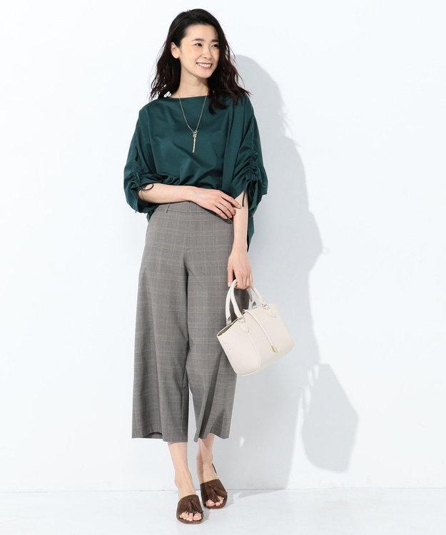 J.PRESS LADIES L 【洗える】マルチグレンチェック ワイドパンツ