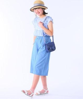 組曲 KIDS 【150~170cm】レースアップ ワイドパンツ サックスブルー系