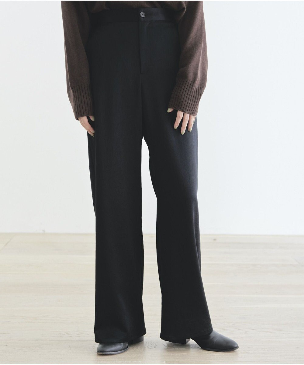 #Newans 【マガジン掲載】洗える/ ストレッチサテンストレートパンツ ブラック系