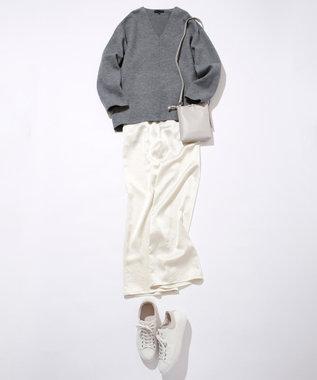 #Newans 【マガジン掲載】洗える/ ストレッチサテンストレートパンツ(番号NK37) エクリュ系