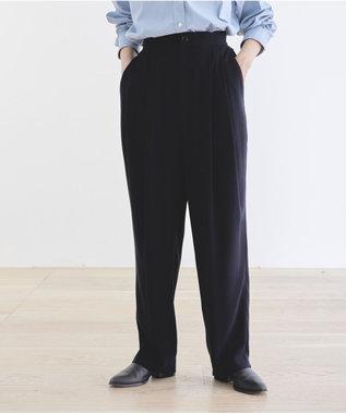 #Newans 【新色登場しました!】洗える&ノンアイロン / ジョーゼット2タックパンツ ネイビー系