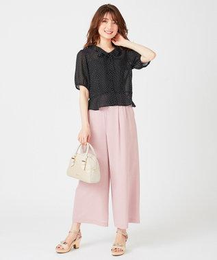 Feroux 【おうち時間に】リネンタッチクロージングワイド パンツ ピンク系