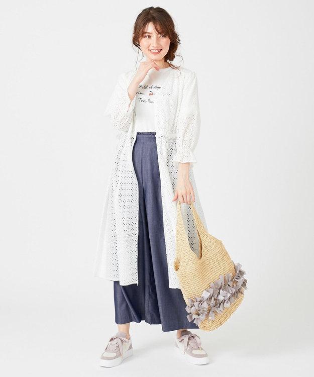 Feroux 【おうち時間に】リネンタッチクロージングワイド パンツ