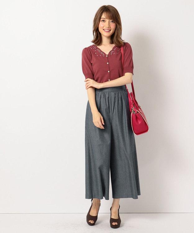 Feroux 【洗える】サイドレースup ワイドパンツ