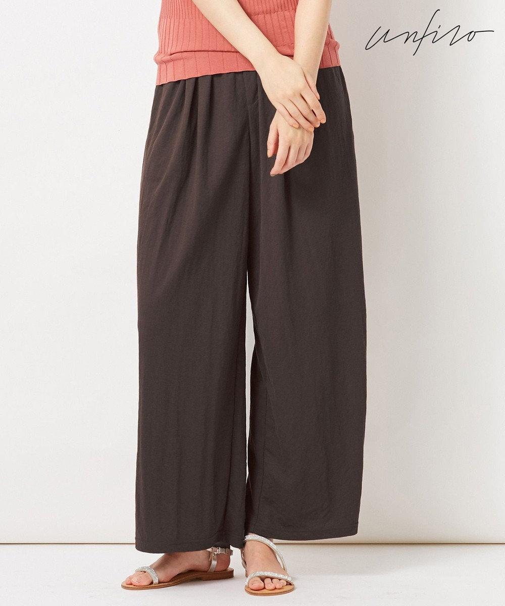 自由区 【Unfilo】KANOKO BLEND セミワイドパンツ ダークブラウン系
