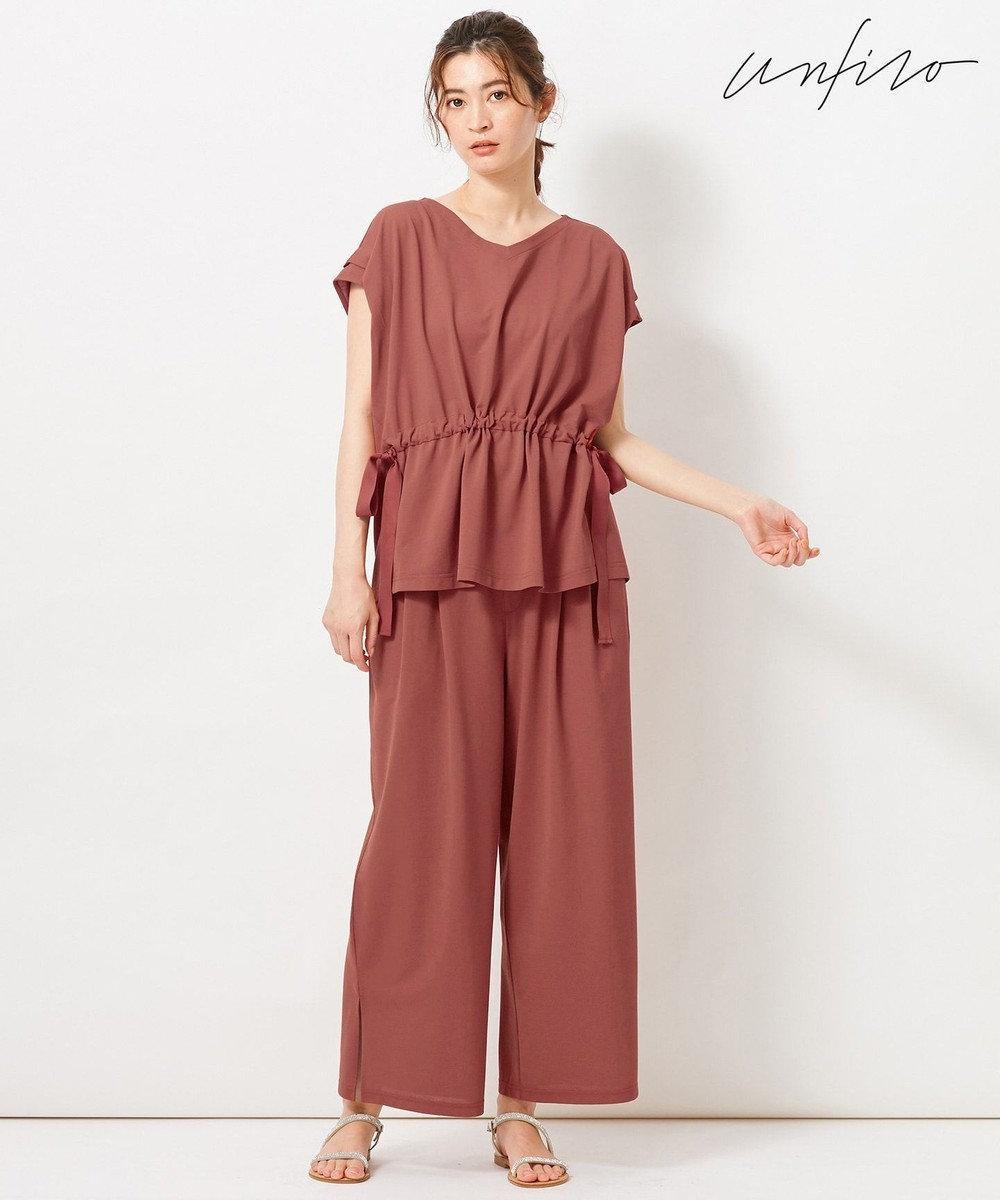 自由区 【Unfilo】KANOKO BLEND セミワイドパンツ オールドローズ系