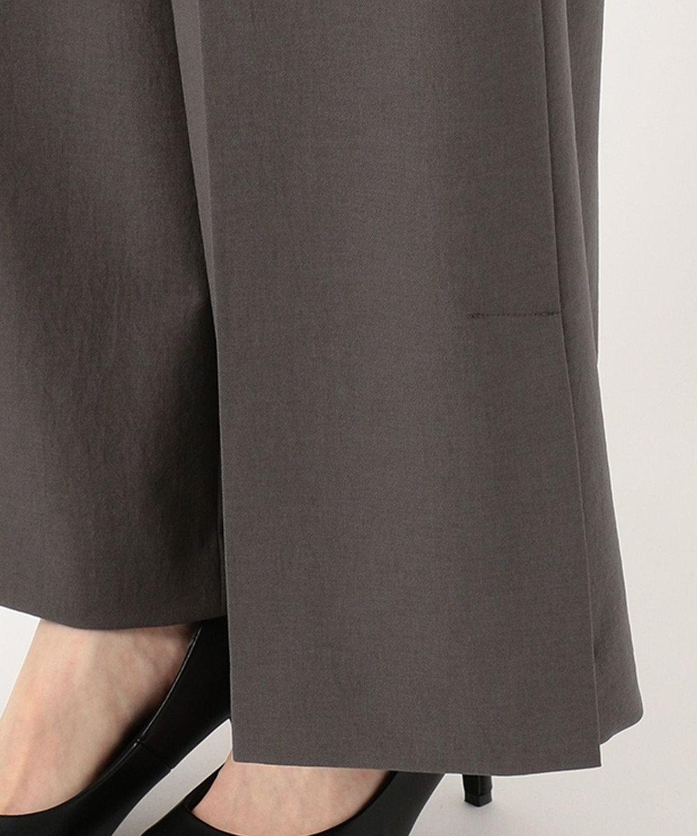 自由区 【洗える】リネンライクツイル ワイドパンツ グレー系