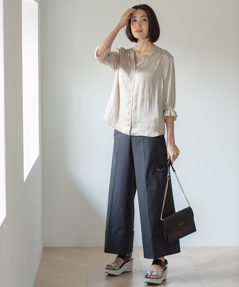 自由区 【マガジン掲載】コンフォートチノワイドパンツ(検索番号F43) ブラック系