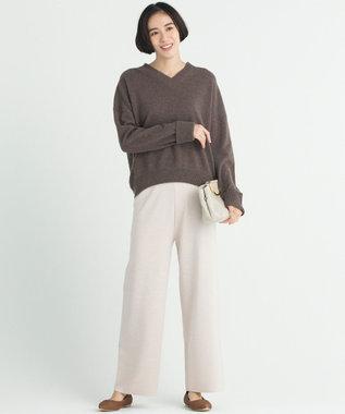 自由区 【洗える】LANA BLEND ニットワイドパンツ サンドベージュ