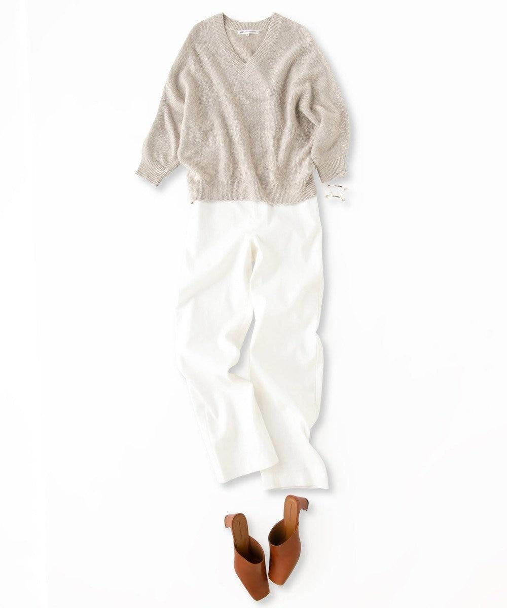 23区 L 【洗える】リネンツイル ストレッチ パンツ ホワイト系
