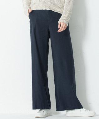 23区 L 【洗える】Vintege Soft Twill ワイドパンツ ネイビー系
