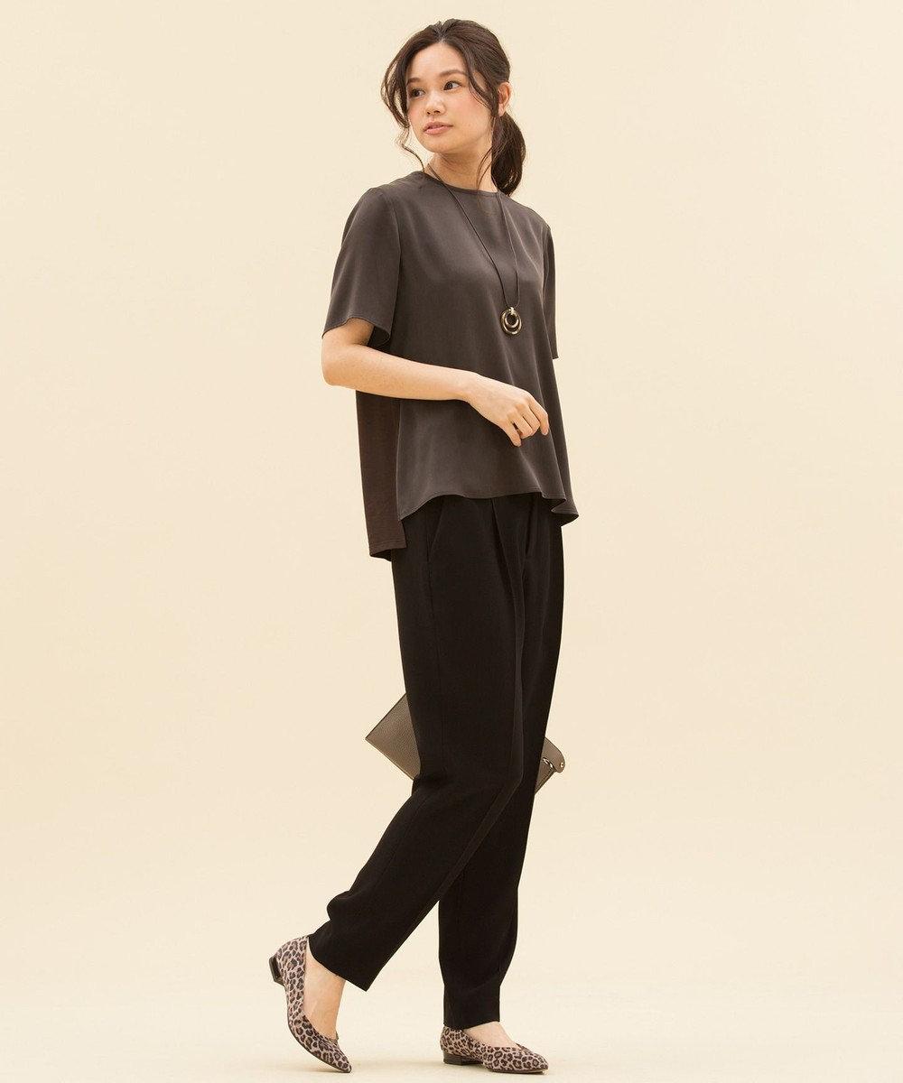 23区 S 【洗える】バックサテンジョーゼット パンツ ブラック系