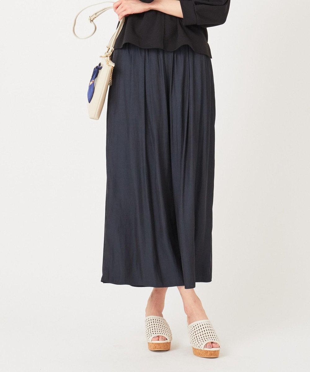 any SiS 【おうち時間に】パウダーサテン パンツ ネイビー