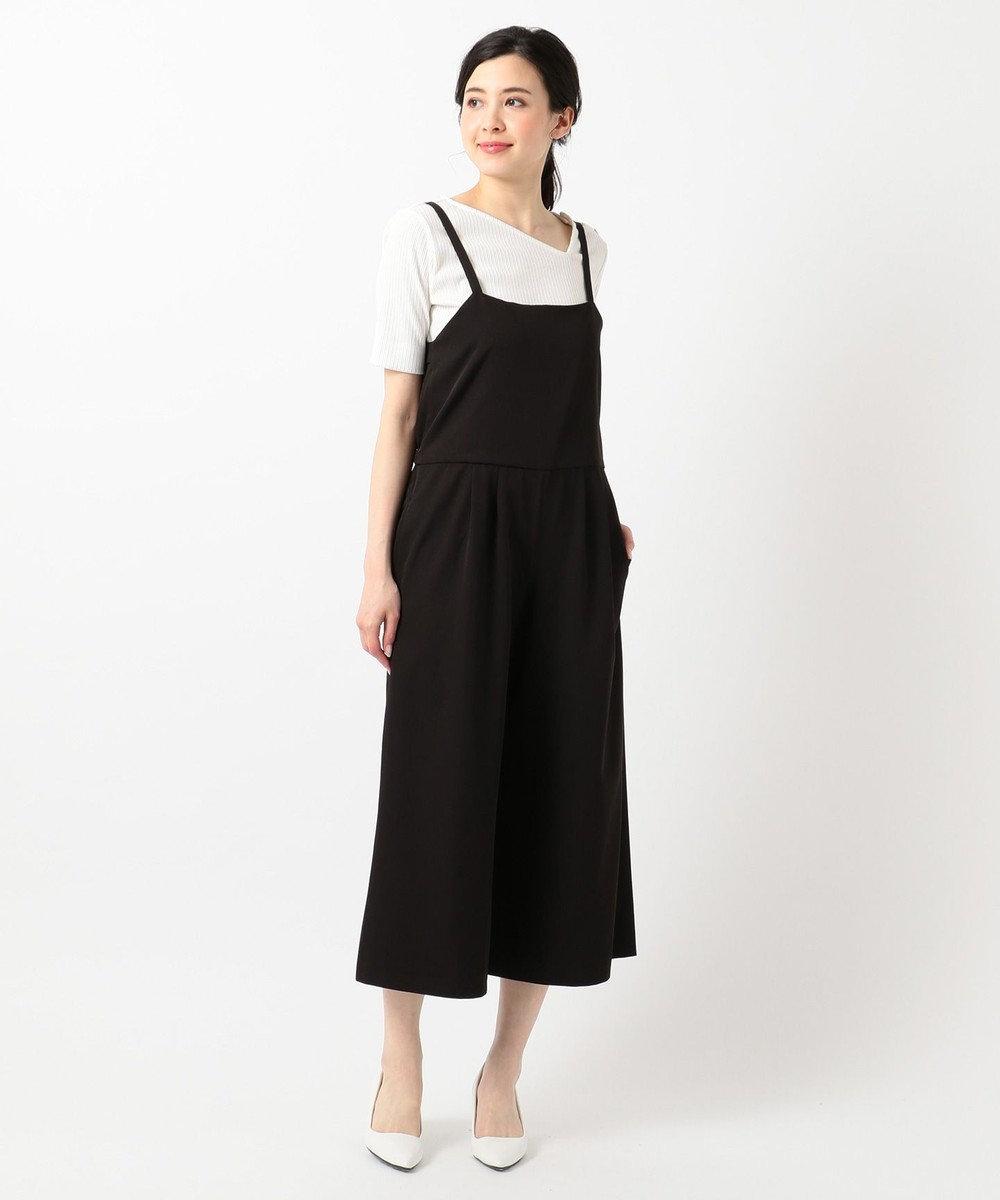 any SiS S 【洗える】フェミニンワイド サロペット ブラック