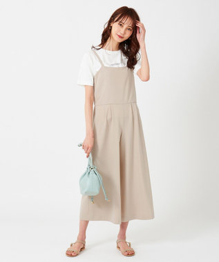 any SiS S 【洗える】フェミニンワイド サロペット サンドベージュ