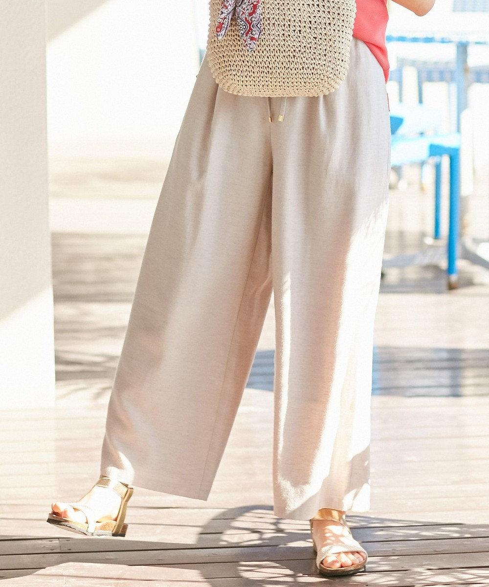 any SiS L 【洗える】リネン混イージー パンツ サンドベージュ