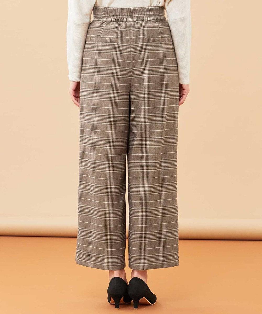 any SiS L 【洗える】チェック ワイドパンツ ブラウンチェック