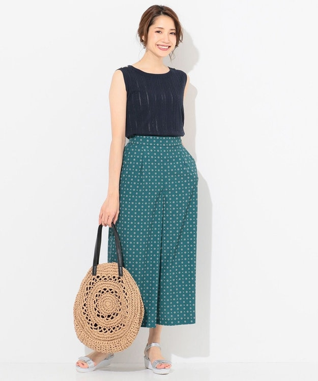 any SiS L 【洗える】コモンデシンプリント ワイドパンツ