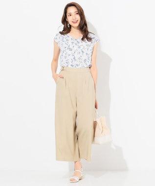 any SiS 【泉里香さん着用】リネンライクブライトクロス ワイドパンツ ベージュ系