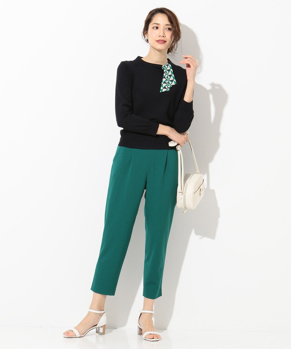 any SiS L 【洗える】バックルポイントテーパード パンツ ピーコックグリーン系