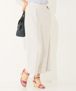 any SiS 【洗える】ハイウエストタック ワイド パンツ ライトグレー系