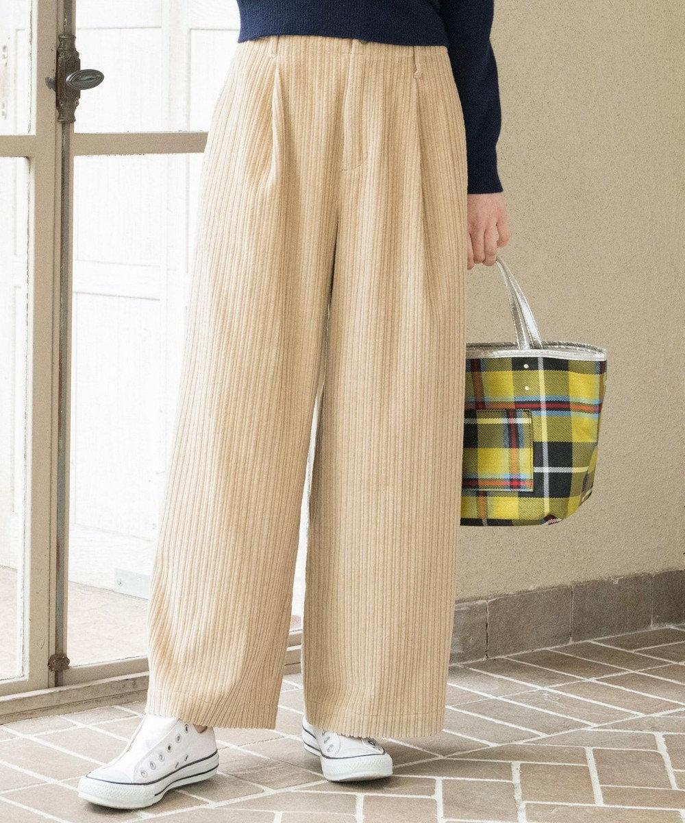 any SiS 【L'aube】コーデュロイワイド パンツ アイボリー系