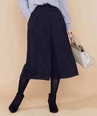 any SiS 【洗える】ウィンタードレープジャージー ガウチョパンツ ネイビー