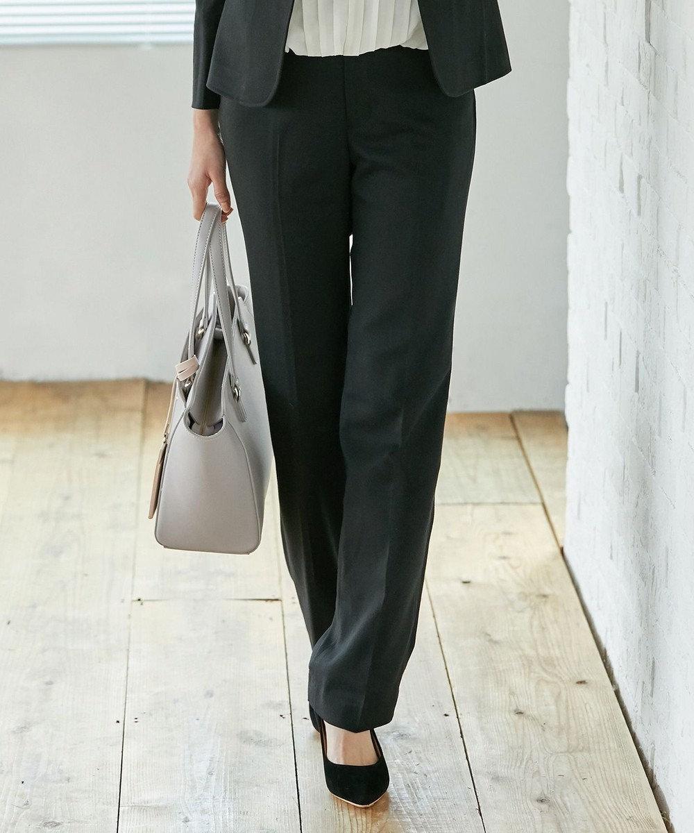 any SiS 【洗える・セットアップ対応】T/Rウォッシャブルスーツ ストレート パンツ ブラック系