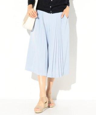 any SiS 【洗える】エレガントプリーツ ガウチョパンツ スカイブルー系