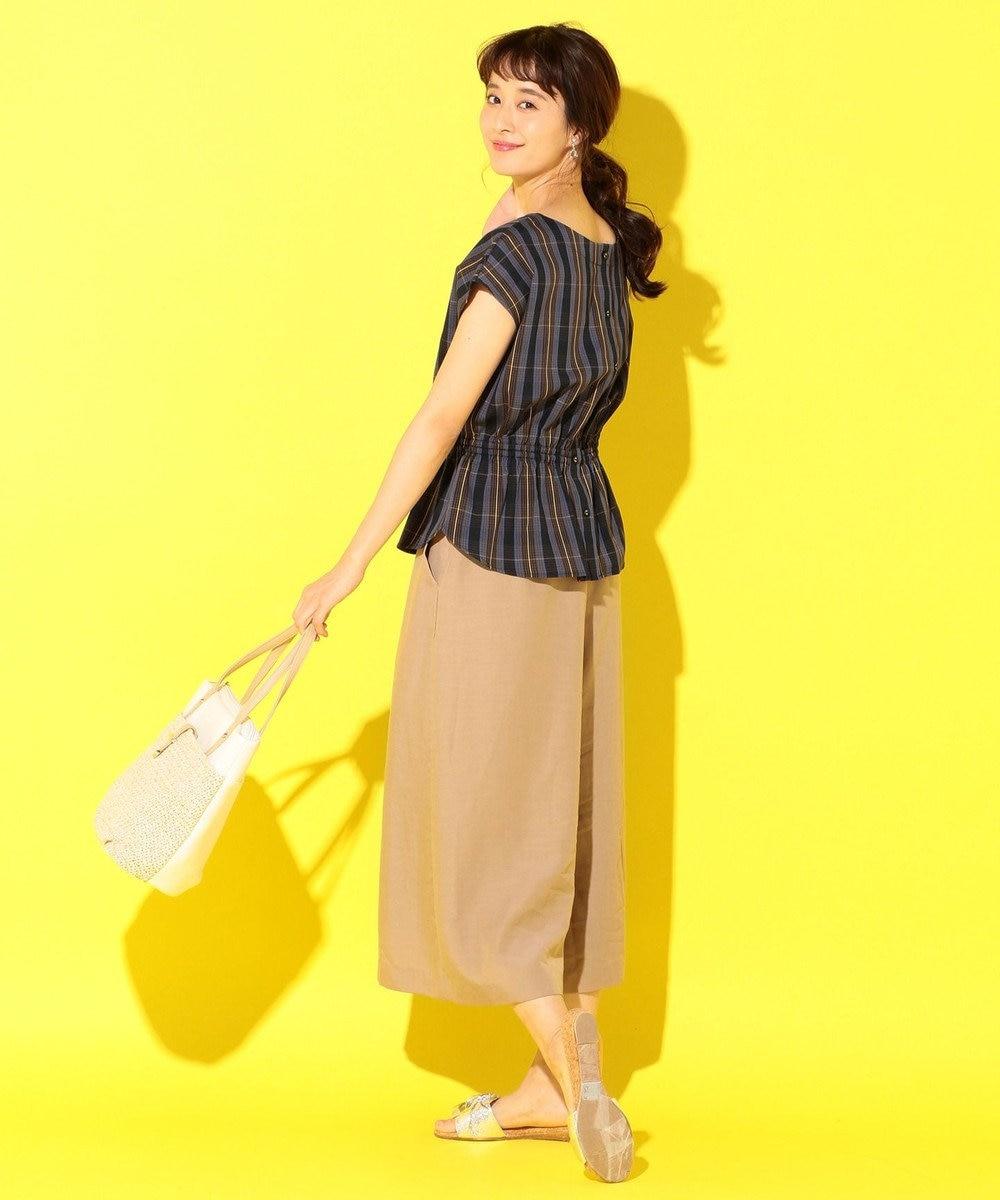 any SiS 【洗える】リネンライクライトクロス ワイドパンツ ブラウン系