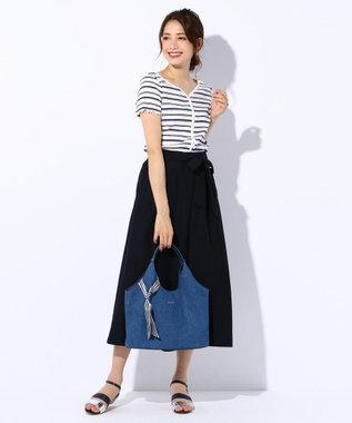 any SiS 【洗える】リネンライクライトクロス ワイドパンツ ネイビー系