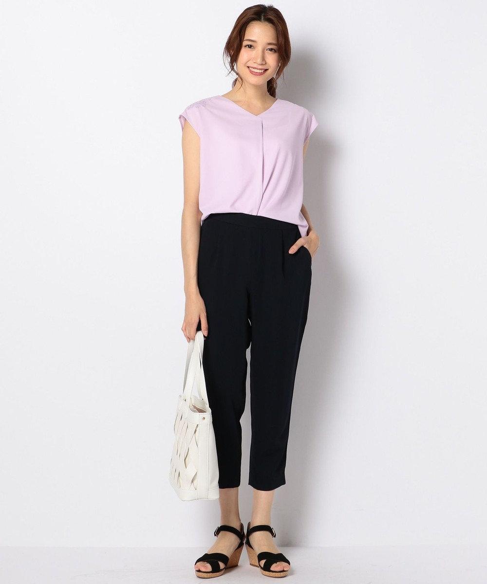 any SiS 【洗える】トロミテーパード パンツ ネイビー系