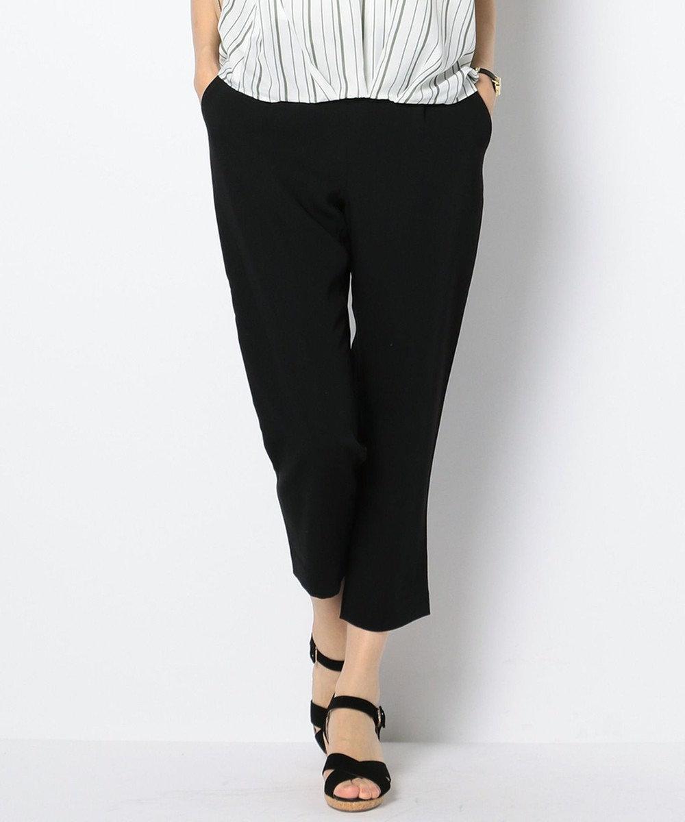 any SiS 【洗える】トロミテーパード パンツ ブラック系