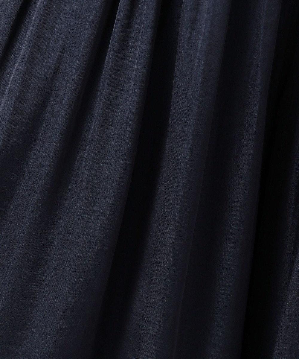 組曲 【オールシーズン活躍!洗える】ヴィンテージサテン ギャザーボトム ネイビー系