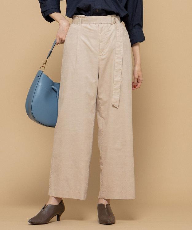 組曲 L 【洗える】コットンソフトコール ワイドパンツ