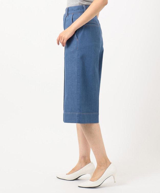 組曲 【洗える】AQUATIC DENIM ハーフデニムパンツ