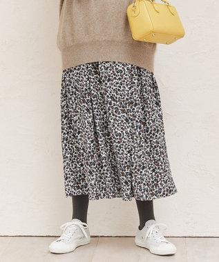 組曲 【洗える】フローラルプリント フレアパンツ アイボリー系5