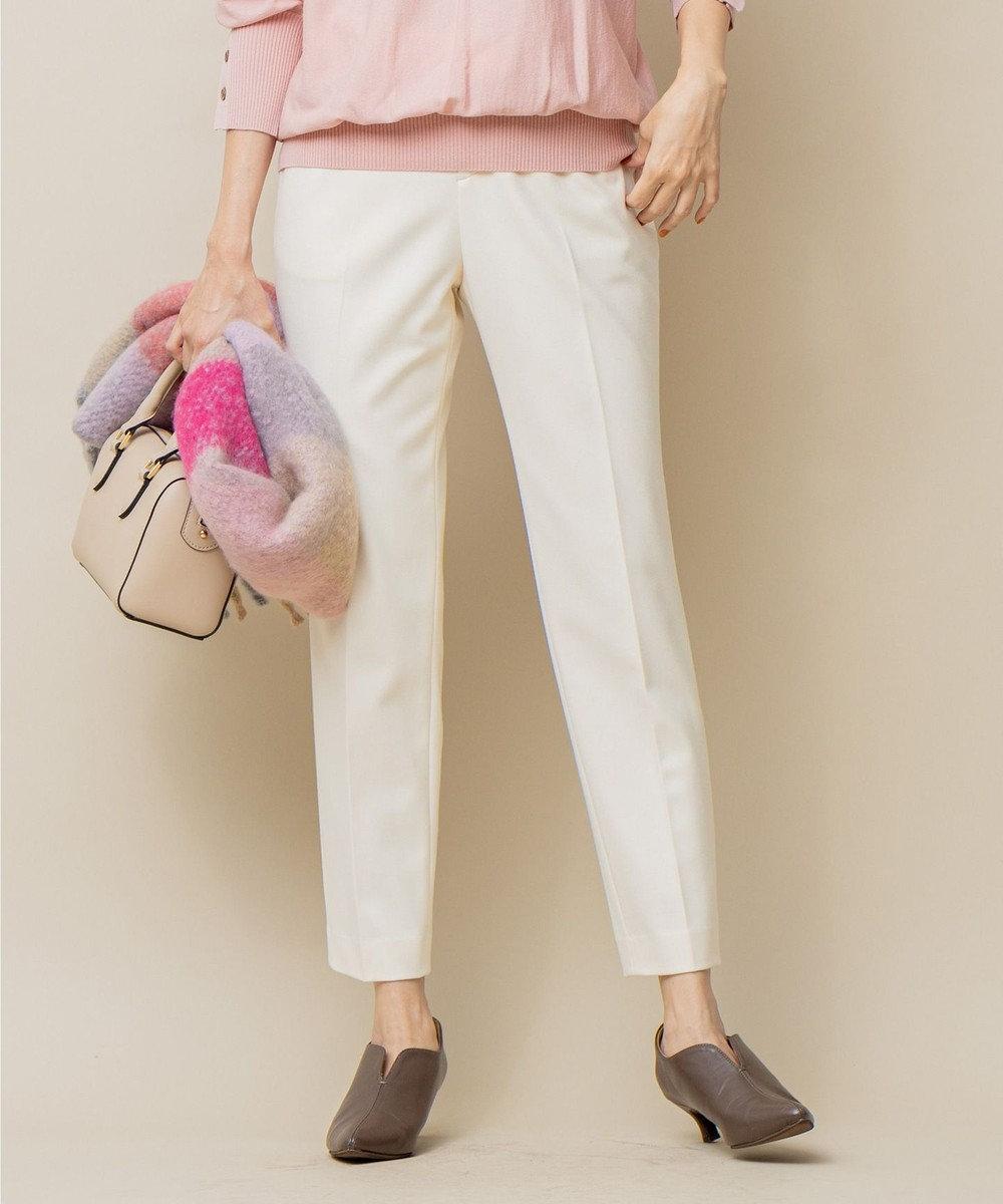 組曲 L 【吸湿発熱性】T/Rストレッチ サーモ テーパードパンツ ホワイト系