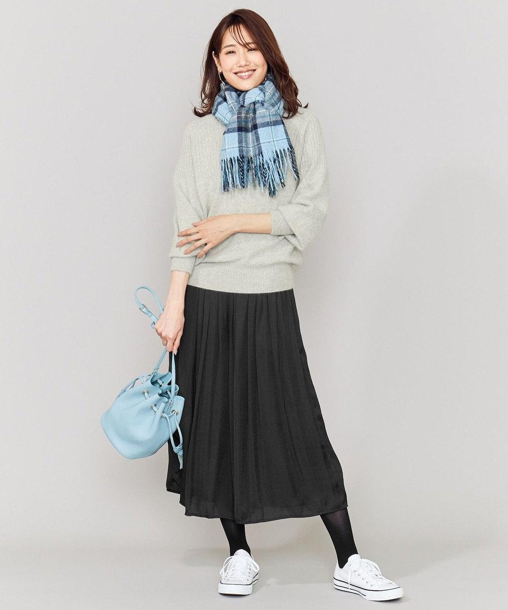 組曲 L 【人気商品】ヴィンテージサテンギャザー パンツ ブラック系
