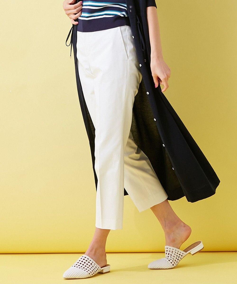 組曲 【洗える】コットンリヨセルギャバストレッチ パンツ ホワイト系