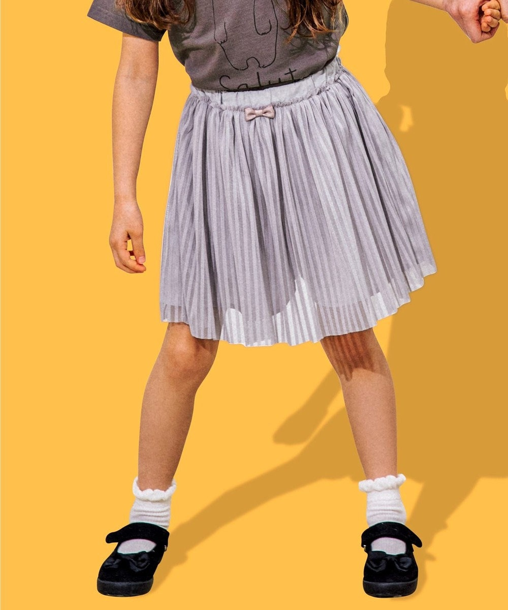 any FAM KIDS 【100‐130cm】ストライプ/チェック インナーパンツ付スカート グレー×ストライプ