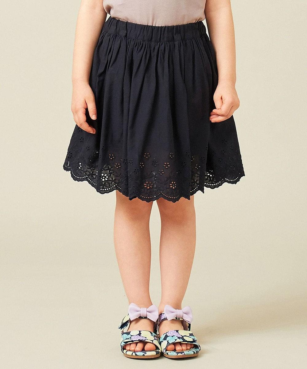 any FAM KIDS 【90‐130cm】スカラップ刺繍 インナーパンツ付スカート ブラック系