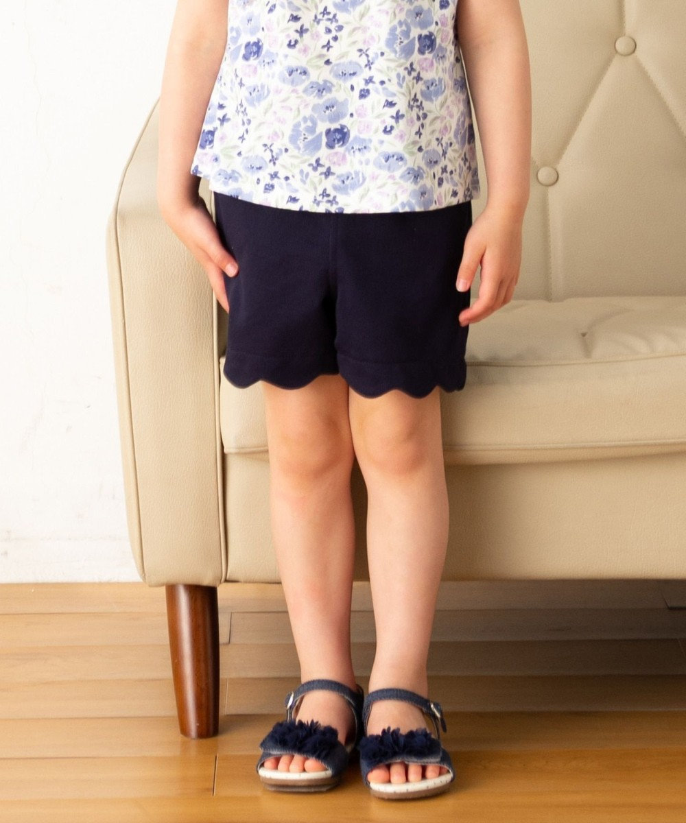 any FAM KIDS 【140cm】スカラップ裾 ショートパンツ ネイビー系