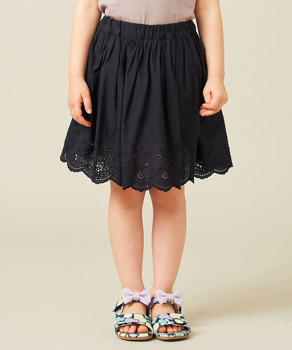 any FAM KIDS 【140-150cm】スカラップ刺繍 インナーパンツ付スカート ブラック系