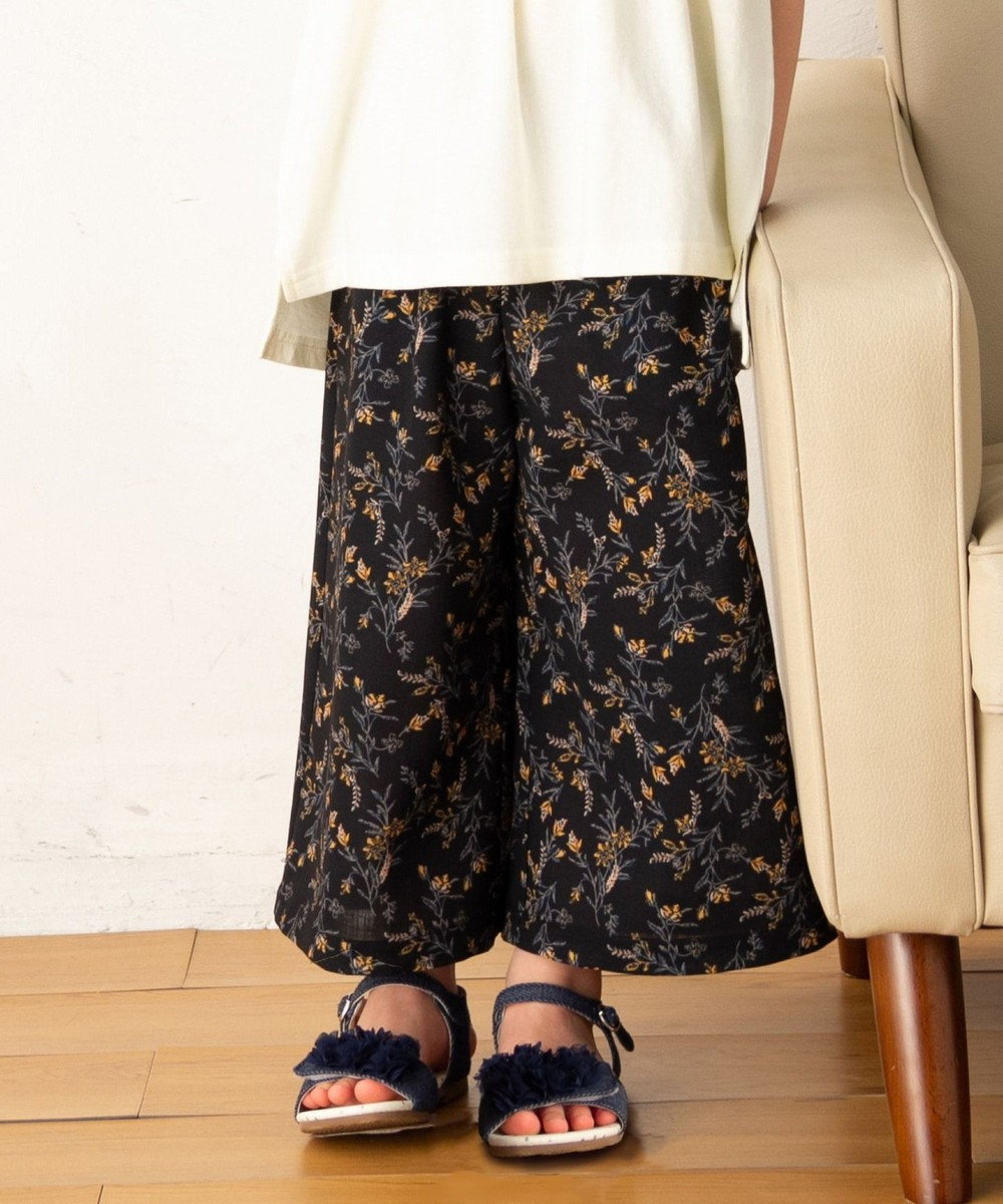 any FAM KIDS 【親子でお揃い/Lサイズ】花柄プリント ワイドパンツ ブラック系5