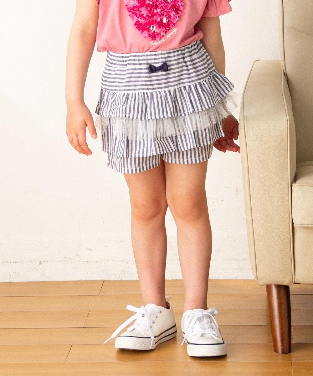 any FAM KIDS 【140-150cm】ストライプ×チュール ショートパンツ ネイビー系1