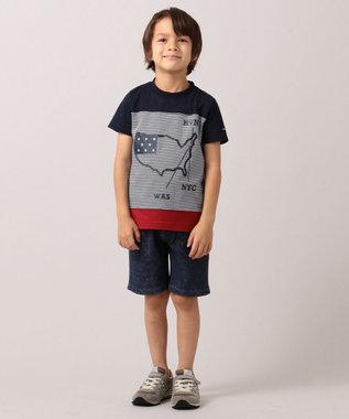 J.PRESS KIDS 【110-130cm】プリント&パイル ハーフパンツ ネイビー系6